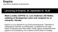 Uddeling af Nordeaprisen og debat mellem Mads Lundby (CEPOS) og Lars Andersen (AE-Rådet).